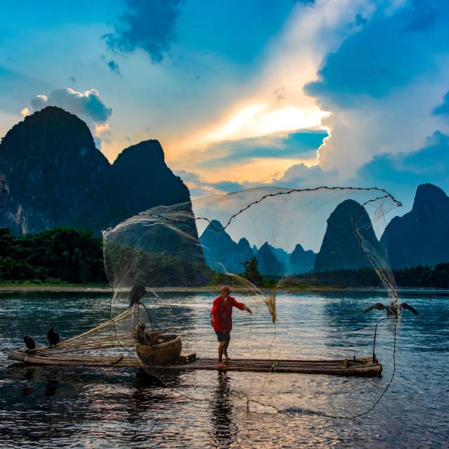 """Fisherman on the Li River, China"" stock image"