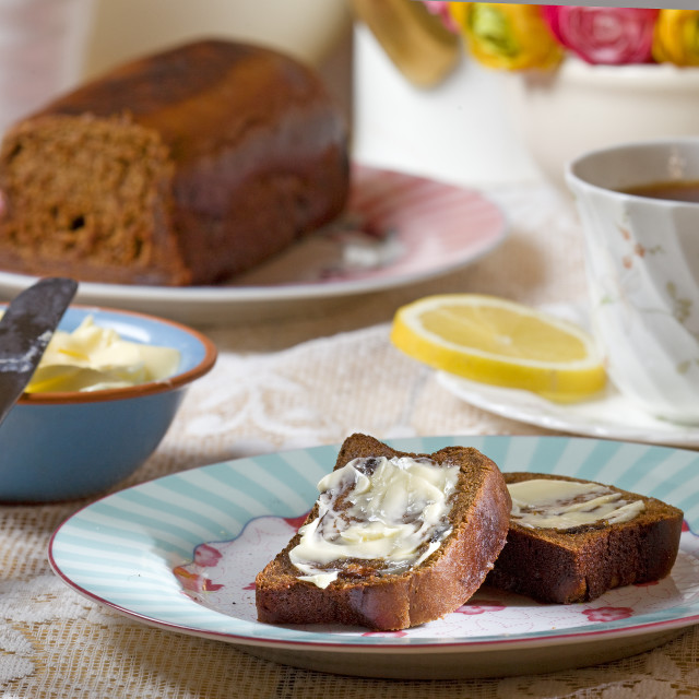 """malt loaf with soft butter"" stock image"