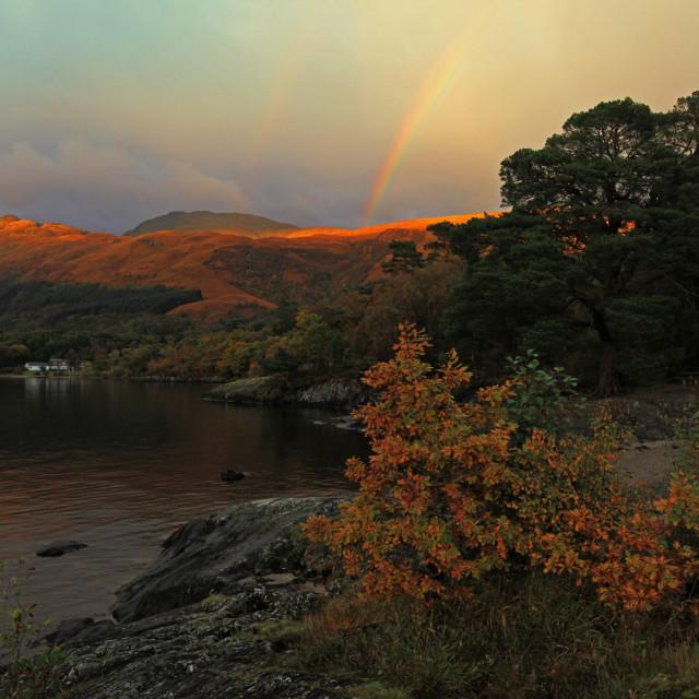 """""""Rainbow over Ben Lomond"""" stock image"""
