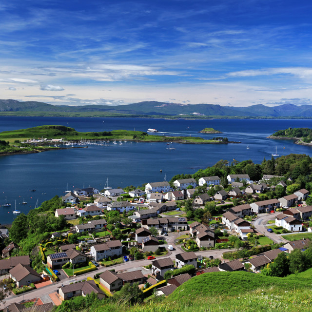 """Oban with Kerrera Island and Mull"" stock image"