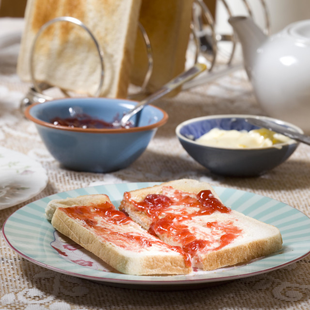 """hot toast with jam"" stock image"