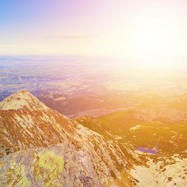 """Panorama of Zolta Turnia Peak and Red Pond at sunset from Skrajny Granat Peak, high Tatra mountains"" stock image"