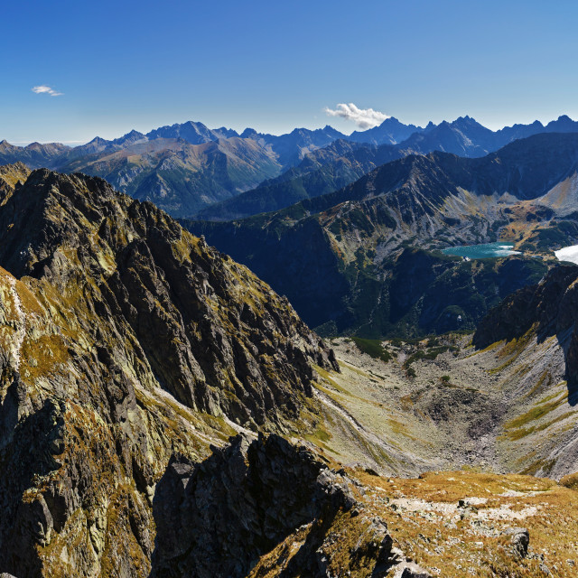 """""""Panorama of Ponds in Five Ponds Valley from Skrajny Granat Peak, high Tatra mountains"""" stock image"""