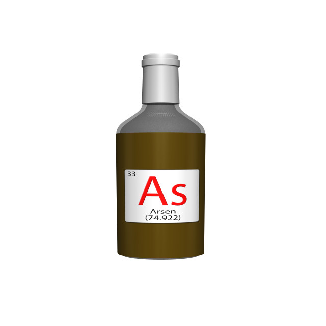 """Digital Illustration - Chemical periodic table style tile - As Arsen (German) bottle"" stock image"