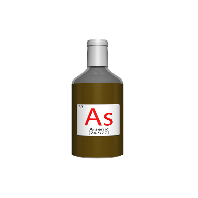 """Digital Illustration - Chemical periodic table style tile - As Arsenic bottle"" stock image"