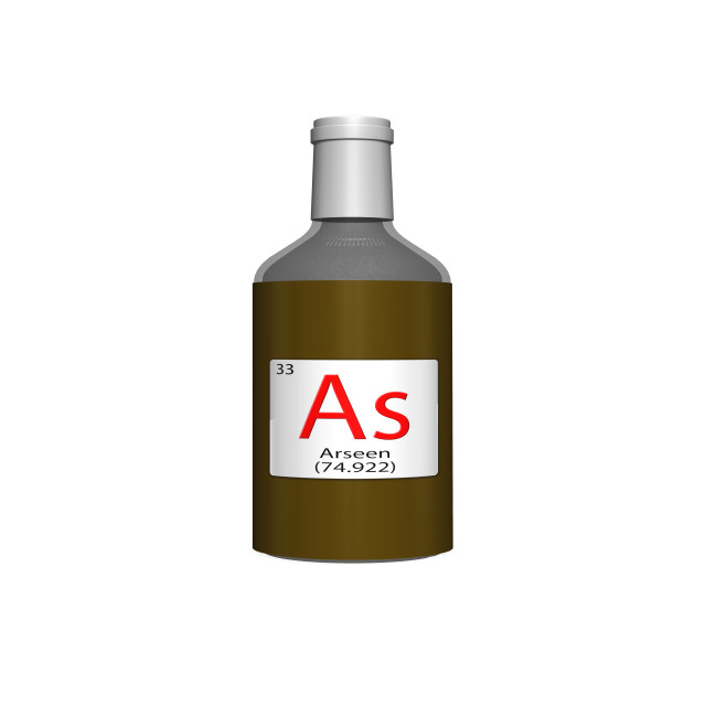 """Digital Illustration - Chemical periodic table style tile - As Arseen (Nederlands / Vlaams) bottle"" stock image"