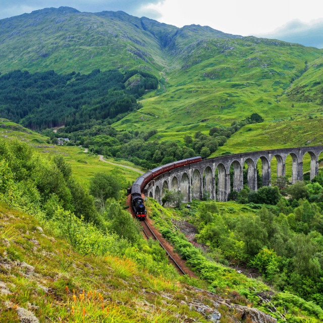 """The Jacobite steam train passes Glenfinnan viaduct"" stock image"