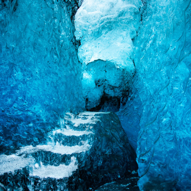 """Ice cave interior in Iceland on Vatnajokull Glacier"" stock image"