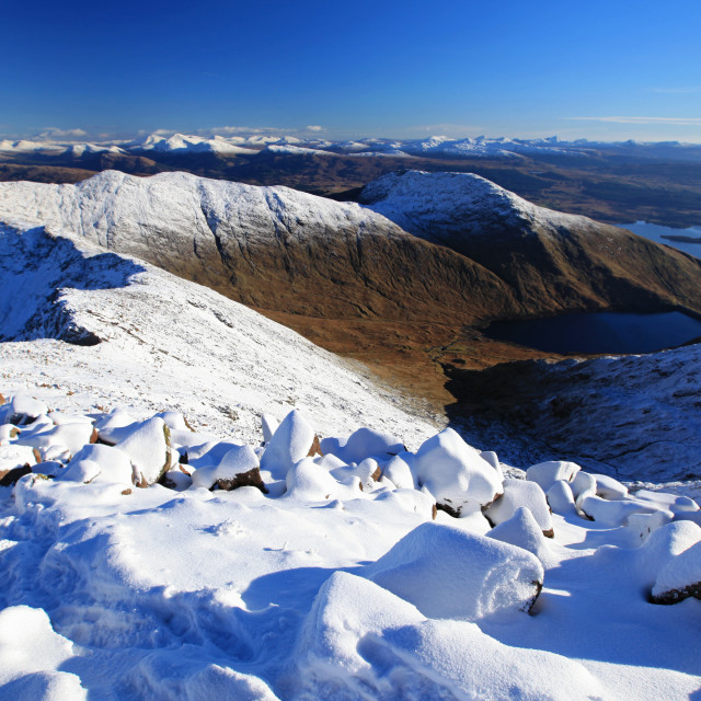 """""""Winter view from Ben Cruachan summit"""" stock image"""