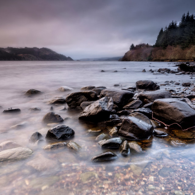"""Rocks on the shore of Loch Awe, Scotland"" stock image"