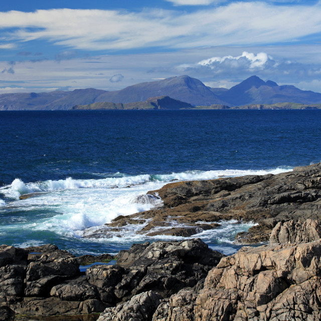 """View from ardnamurchan towards the islands of Rum and Muck"" stock image"