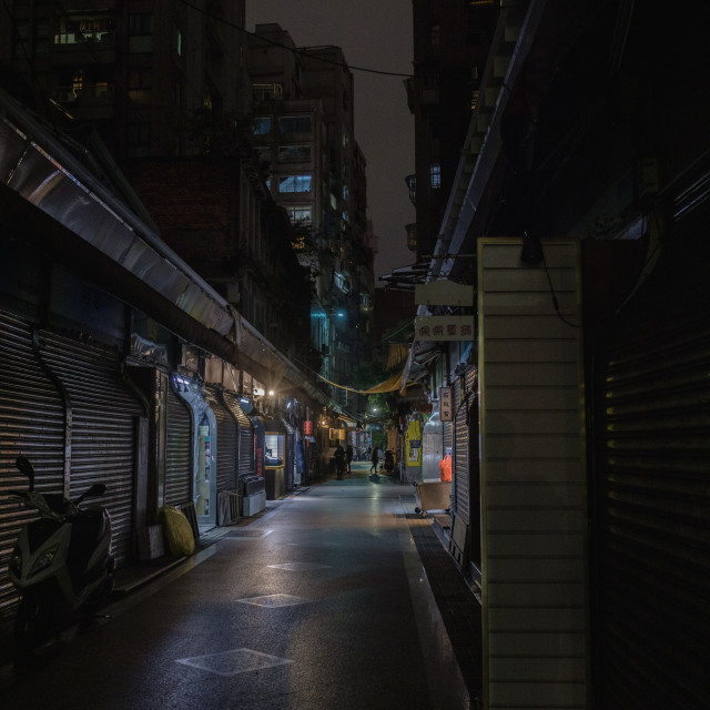 """""""shopping alley after closing time"""" stock image"""