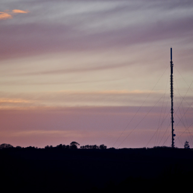 """Telecomms Mast at Sunset"" stock image"
