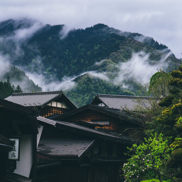 """Ancient town of Tsumago"" stock image"