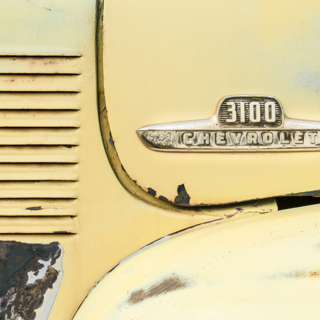 """Chevrolet 3100 vehicle badge"" stock image"