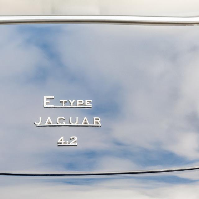 """Jaguar E-Type cloud reflections"" stock image"