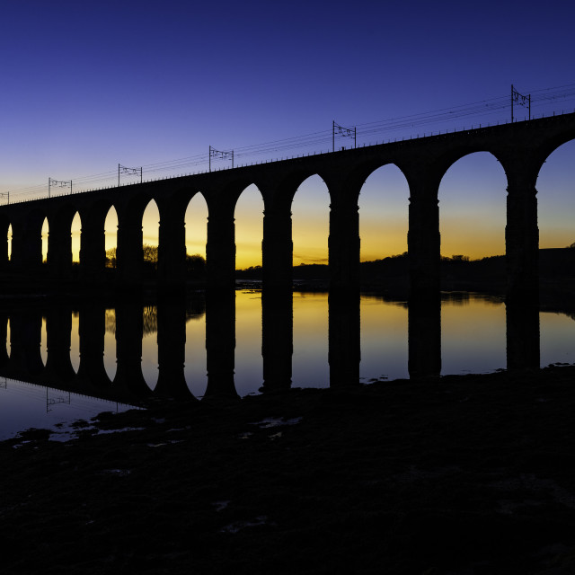 """Berwick Viaduct at Sunset"" stock image"