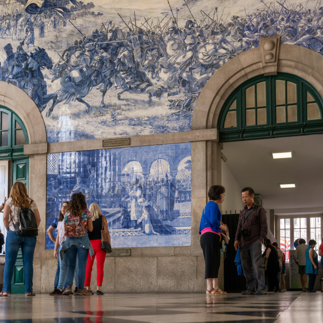 """People in the vestibule of Sao Bento Railway"" stock image"