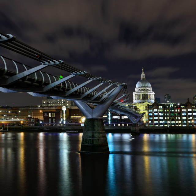 """""""St Pauls Cathedral Dome and Millinium Bridge at Night"""" stock image"""