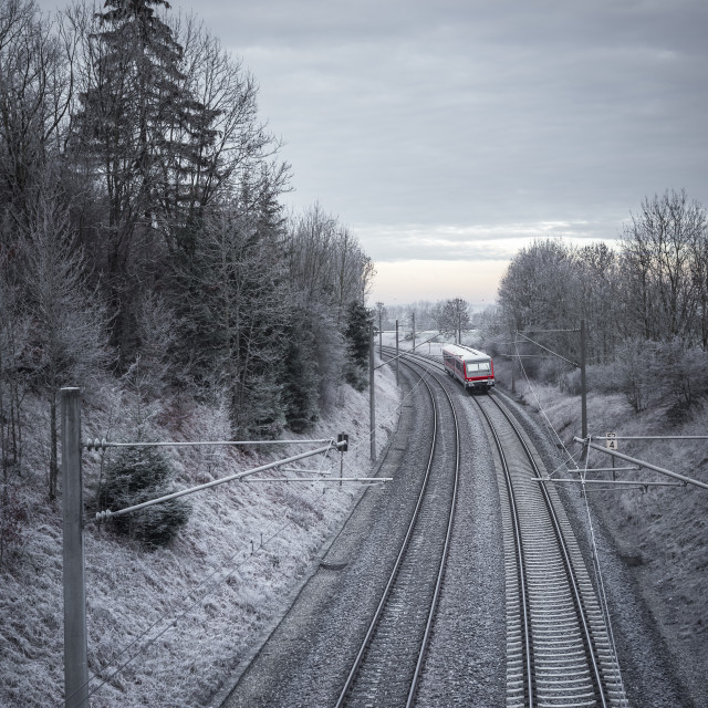 """Railroad tracks and red train through snowy trees"" stock image"