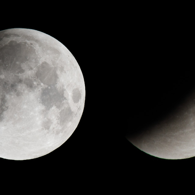 """Composite image of the moon during a total lunar eclipse"" stock image"