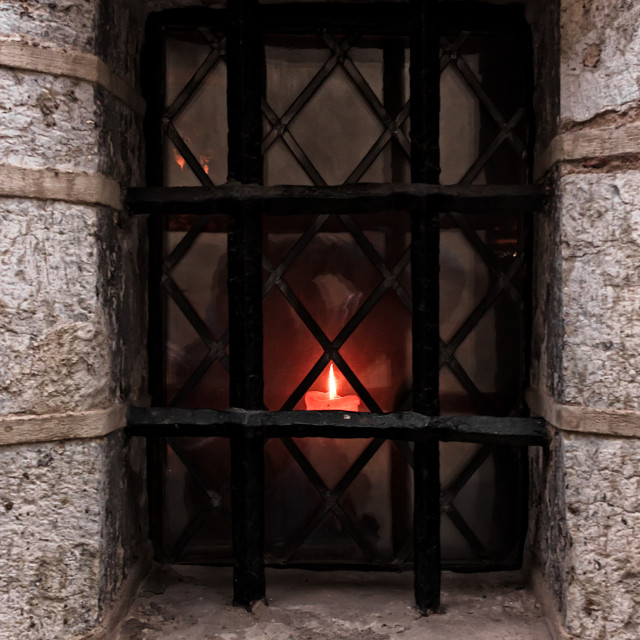 """""""Candle On An Old Window"""" stock image"""