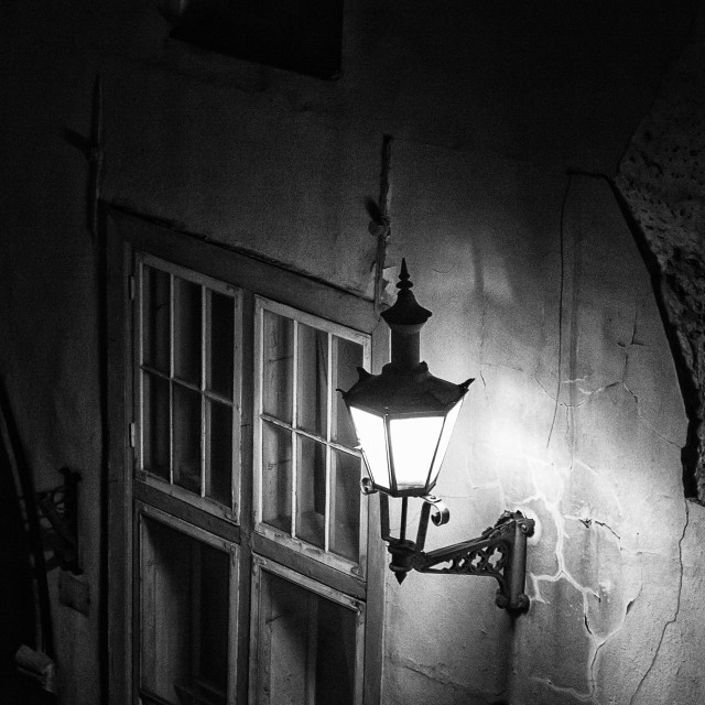 """""""Old Lantern In A Cracked Wall"""" stock image"""