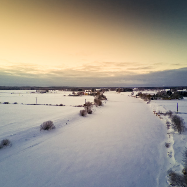 """""""Sunset Over Icy River Bend"""" stock image"""