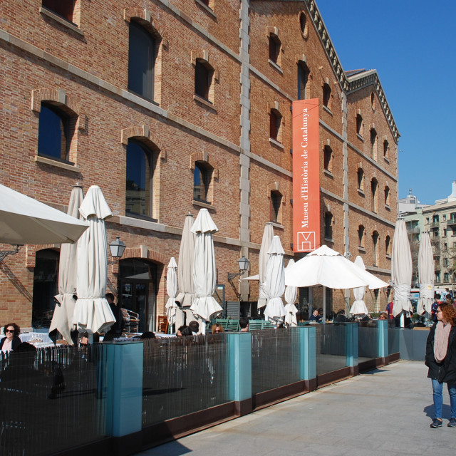 """""""Restaurant terraces and Catalonia history museum, Barcelona"""" stock image"""