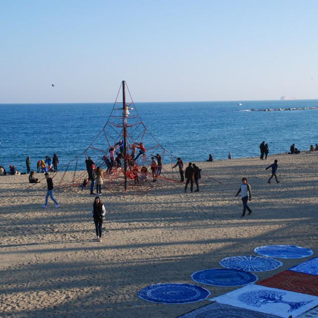 """Barceloneta Beach and playground, Barcelona"" stock image"