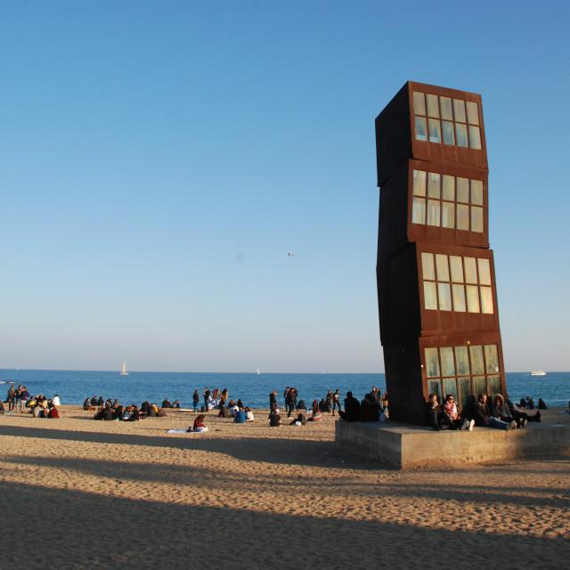"""Barcelona beach - Cubical sculpture"" stock image"