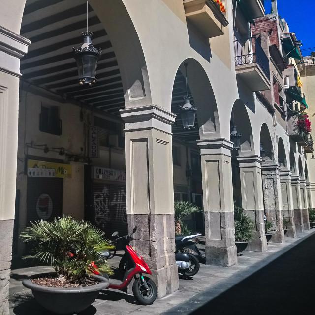 """Spanish plaza and motos"" stock image"