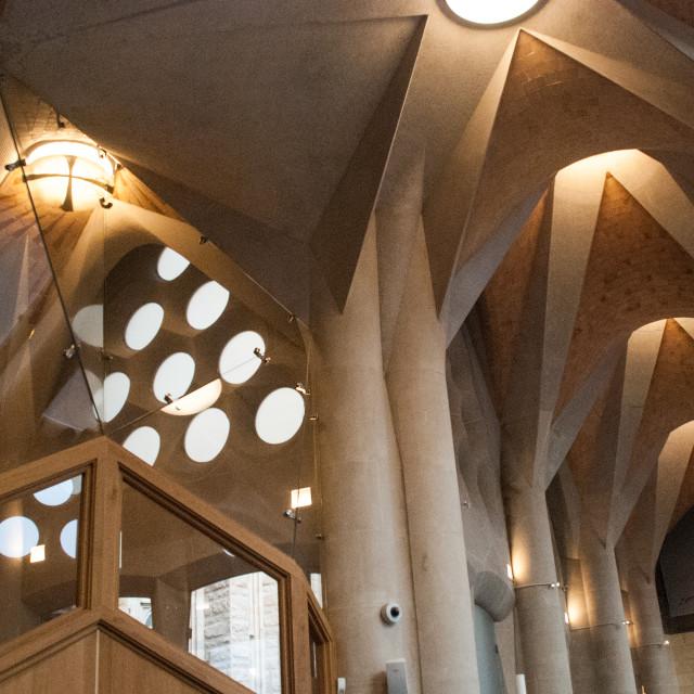 """""""Lights and angles inside Gaudi's Sagrada Familia"""" stock image"""