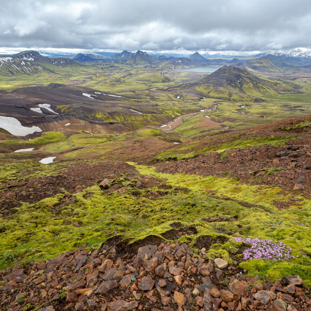 """Scenic nature landscape of Landmannalaugar in Iceland during Laugavegur trek."" stock image"