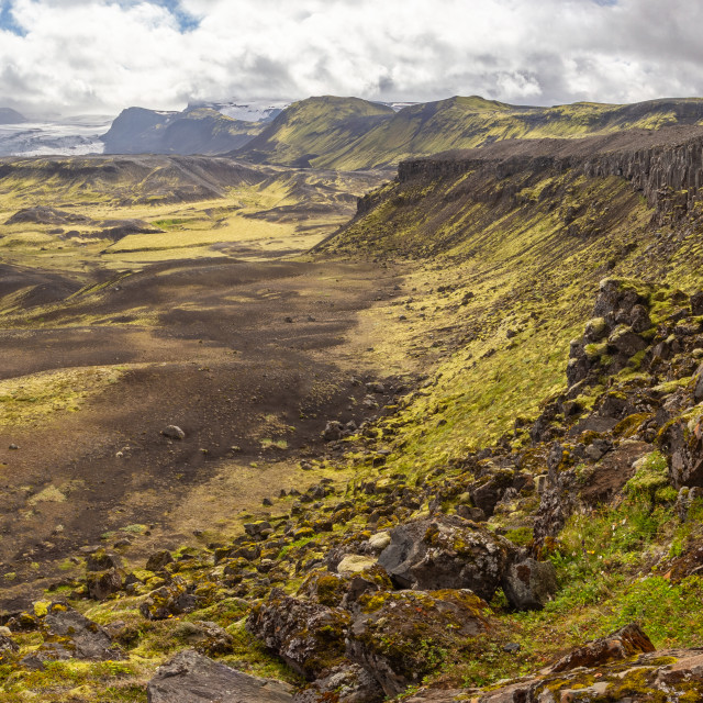 """Rocky volcanic nature landscape of Landmannalaugar in Iceland on Laugavegur trek"" stock image"