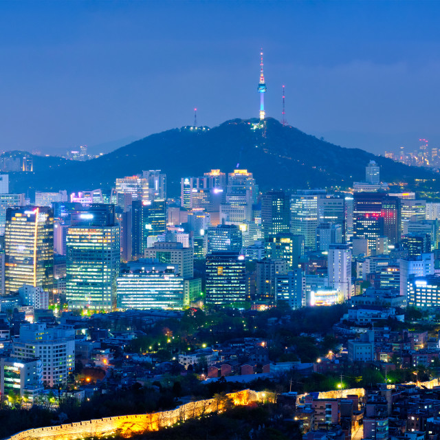 """Seoul skyline in the night, South Korea."" stock image"
