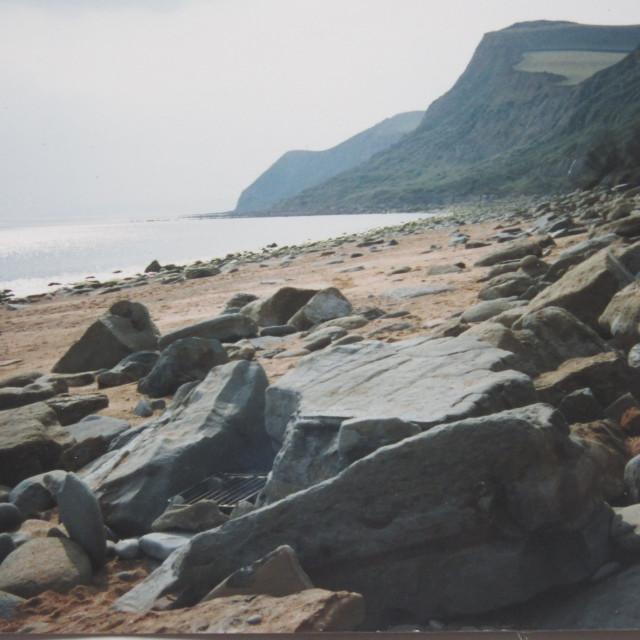 """""""Eype beach and coastline in Dorset"""" stock image"""