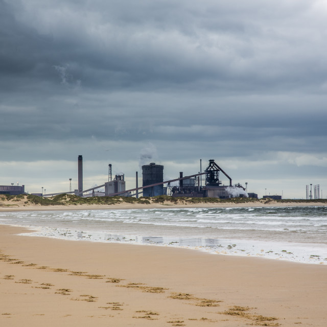 """""""Another view of Redcar Steelworks."""" stock image"""