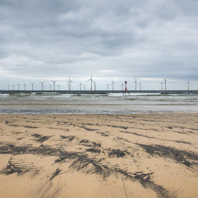 """Redcar Beach and Windfarm 2."" stock image"
