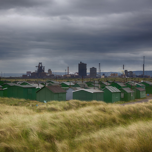"""""""Steelworks and Huts,(Colour Version)."""" stock image"""