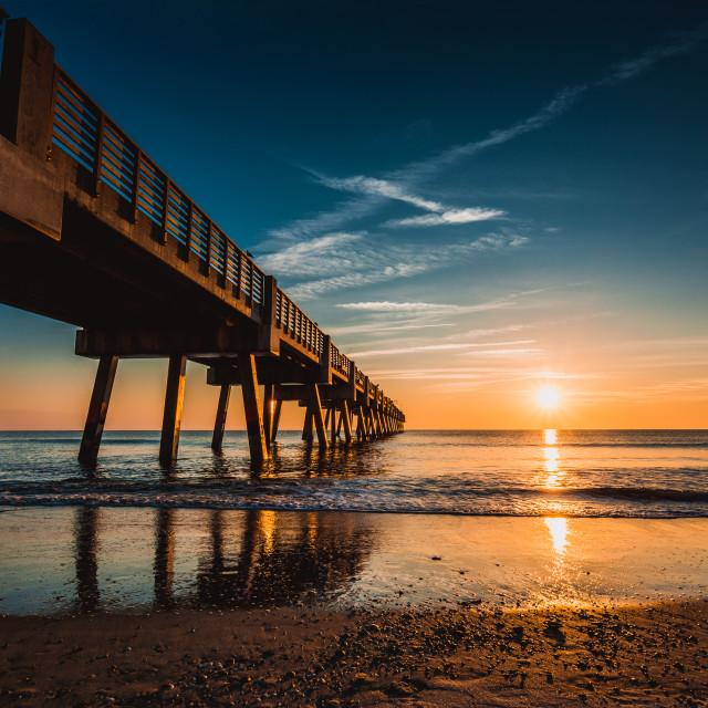 """Jacksonville Pier Blue"" stock image"