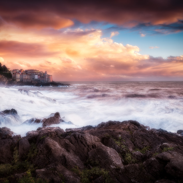 """""""The small sea village of Tellaro wrapped in the storm"""" stock image"""