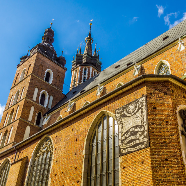 """The cathedral in Krakow against blue sky"" stock image"