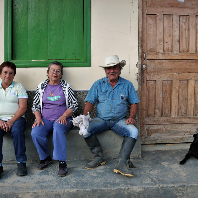 """""""Colombian farmers with dog - Campesinos colombianos"""" stock image"""