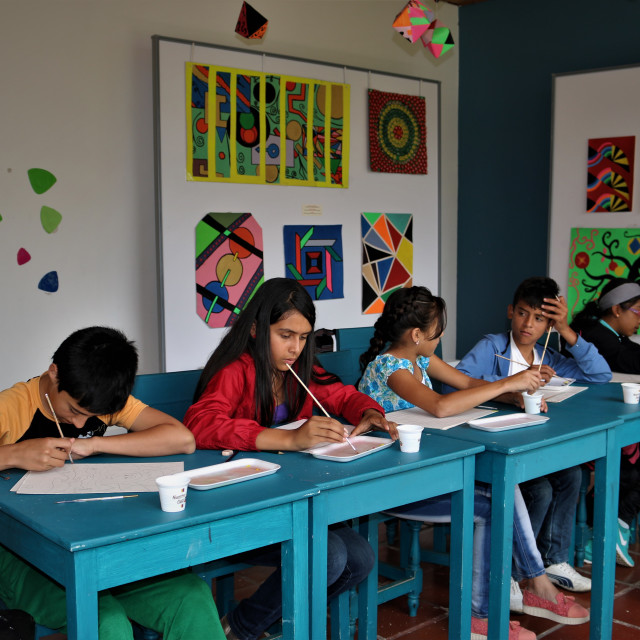 """""""Children in their painting class"""" stock image"""