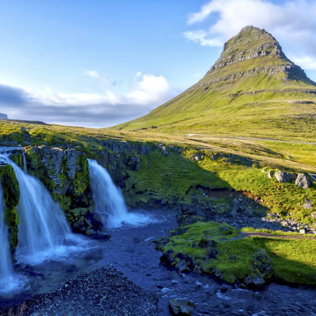 """Mt. Kirkjufell and the Kirkjufellsfoss waterfall"" stock image"