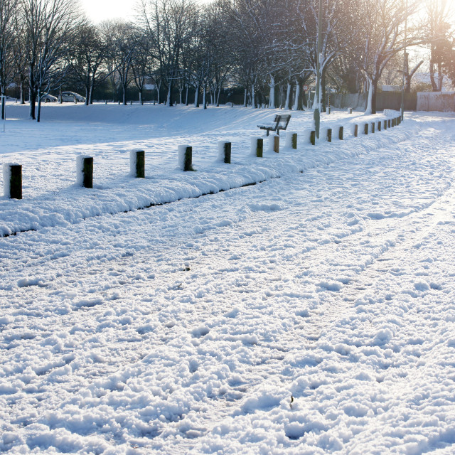 """Residential snow 2019 - Stratton Park, Basingstoke"" stock image"