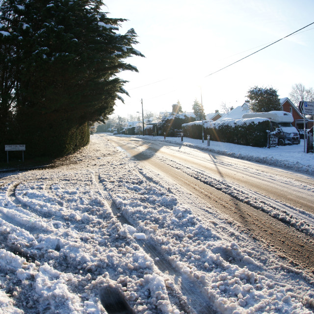 """Residential snow 2019 - Pack Lane, Basingstoke"" stock image"