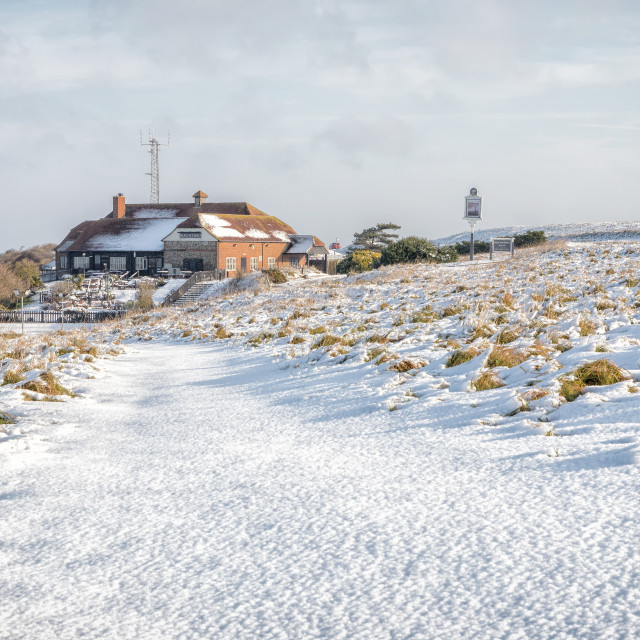 """""""Beachy Head and the Pub in the Snow"""" stock image"""