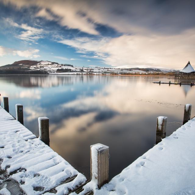 """Llangorse jetty"" stock image"